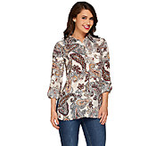 As Is Susan Graver Printed Feather Weave Button Front Shirt - A274851