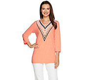 Bob Mackies Embellished 3/4 Sleeve V-Neck Knit Top - A276151