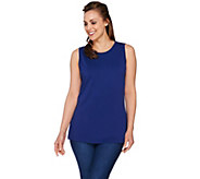 Isaac Mizrahi Live! Knit Tank with Pleated Back Detail - A276751