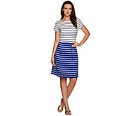 Isaac Mizrahi Live! Fit and Flare Striped Knit Dress - A278051