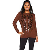 Bob Mackies Button Front Sequin Sweater Knit Cardigan - A284351
