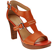 As Is Marc Fisher Leather T-strap Stack Heel Sandals - Tatyana - A284451