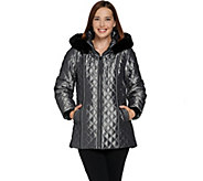 Dennis Basso Quilted Zip Front Jacket with Hood & Faux Fur Trim - A284851
