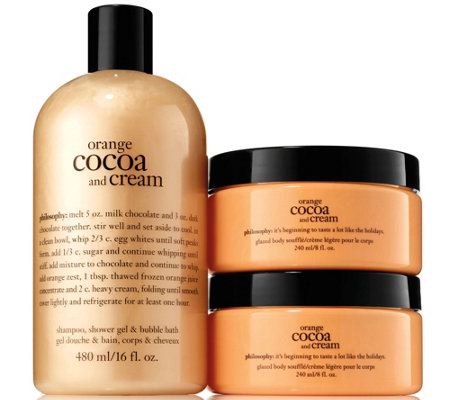 philosophy orange cocoa & cream shower gel & souffle duo — QVC.com
