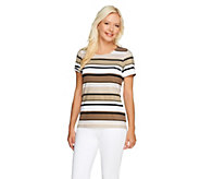 As Is Liz Claiborne New York Scoop_Neck Short Sleeve Striped T-shirt - A286651