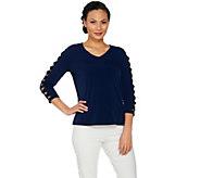 Susan Graver Liquid Knit 3/4 Sleeve Top - A287651