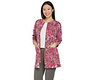 Isaac Mizrahi Live! Floral Knit Jacquard 3/4 Sleeve Topper Coat - A288651