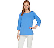 Joan Rivers 3/4 Sleeve Top with Pleated Back Detail - A288751
