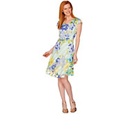 Isaac Mizrahi Live! Watercolor Print Gingham Organza Dress - A289651