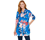 Denim & Co. Beach Floral Print Button Front Big Shirt - A291651