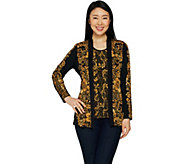 Susan Graver Printed Liquid Knit Cardigan and Tank Set - A297151