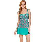 As Is Isaac Mizrahi Live! Medallion Print Peplum Tankini Swimsuit - A298751