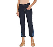 Susan Graver Petite Stretch Denim Pull-On Crop Pants - A302651
