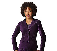 As Is Joan Rivers Velvet Signature Jacket with Ruching Detail - A224352
