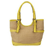 B. Makowsky Straw Tote with Glove Leather Trim & Buckle Accents - A230952