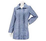 Dennis Basso Iridescent Water Resistant Pleated Jacket w/ Hidden Hood - A231852