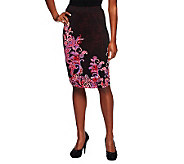 Bob Mackies Jersey Knit Pull-on Placement Print Skirt - A236152