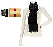 Susan Graver Metallic Flocked Velvet Scarf w/ Fringe and Gift Box - A237952