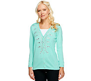Quacker Factory V-neck Sparkle Bracelet Sleeve Cardigan - A240752
