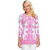 Linea by Louis DellOlio Printed V-Neck Tunic - A252352