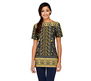 Attitudes by Renee Boat Neck Border Print Tunic - A252652