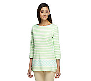 Liz Claiborne New York Striped Border Print Knit Tunic - A253252
