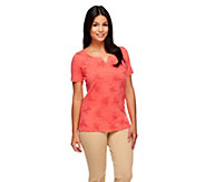 Liz Claiborne New York Embroidered Short Sleeve Knit Top - A253752