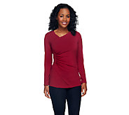 Susan Graver Liquid Knit Long Sleeve Surplice Wrap Top - A255952