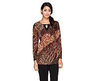 Susan Graver Printed Liquid Knit 3/4 Sleeve Top w/Keyhole - A257952