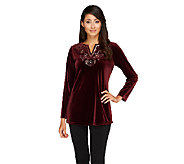 Susan Graver Stretch Velvet Tunic with Embellished Split V-neck - A259552