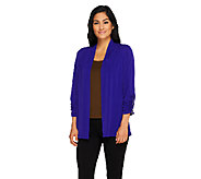 Susan Graver Liquid Knit 3/4 Sleeve Open Front Cardigan - A260352