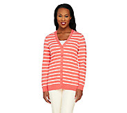 Liz Claiborne New York Essentials Striped Long Sleeve Cardigan - A261252