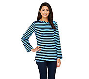 Susan Graver Weekend Striped French Terry Long Sleeve Top - A261952