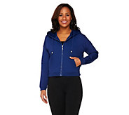 Denim & Co. Active French Terry Cropped Jacket w/ Mesh Detail - A263652