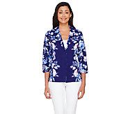 Isaac Mizrahi Live! Placed Floral Printed Knit Jacket - A266052