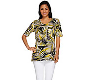 Denim & Co. Palm Printed Elbow Sleeve Knit Tunic with Side Slits - A266452