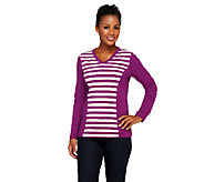 As Is Denim & Co. Active Knit Stripe Front V-Neck Top - A266552