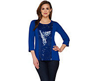 Joan Rivers Sequin Panel Knit Top with 3/4 Sleeves - A267552