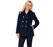 Joan Rivers Classic Double Breasted Peacoat - A268152