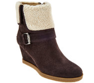 Isaac Mizrahi Live! Suede Wedge Ankle Boots w/ Faux Sherpa