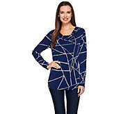Susan Graver Printed Liquid Knit Drape Neck Top with Button Detail - A272352
