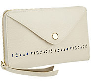 As Is Isaac Mizrahi Live! Bridgehampton Perforated Leather Wallet - A274452