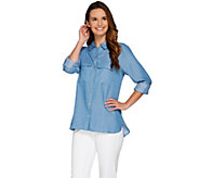 C. Wonder Button Front Woven Carrie Blouse with Patch Pockets - A276352