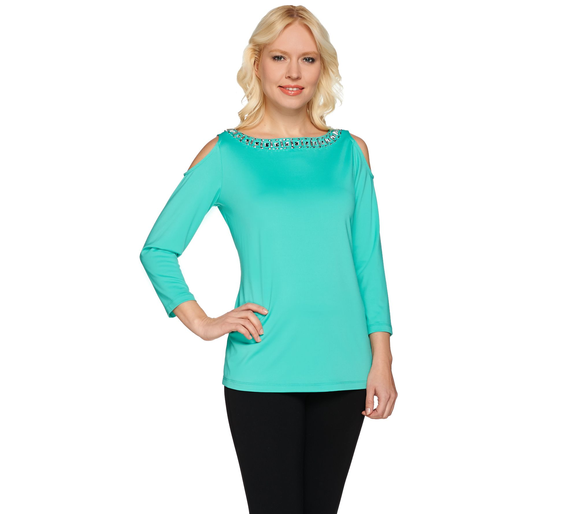 Susan Graver Artisan Embellished Butterknit Cold Shoulder ...