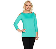 Susan Graver Artisan Embellished Butterknit Cold Shoulder Top - A276452