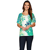 Studio By Denim & Co. Drop Shoulder Tropical Print Top - A277652