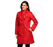 As Is Isaac Mizrahi Live! Quilted Coat with Scarf - A280752
