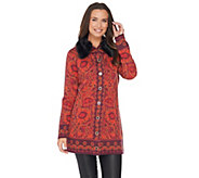 Isaac Mizrahi Live! Tapestry Sweater Coat w/ Faux Fur Collar - A281352