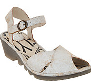 FLY London Leather Peep-toe Wedge Sandals - Pero - A290152