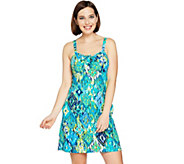 As Is Denim & Co. Beach Drawstring Ruched Swim Dress - A299952